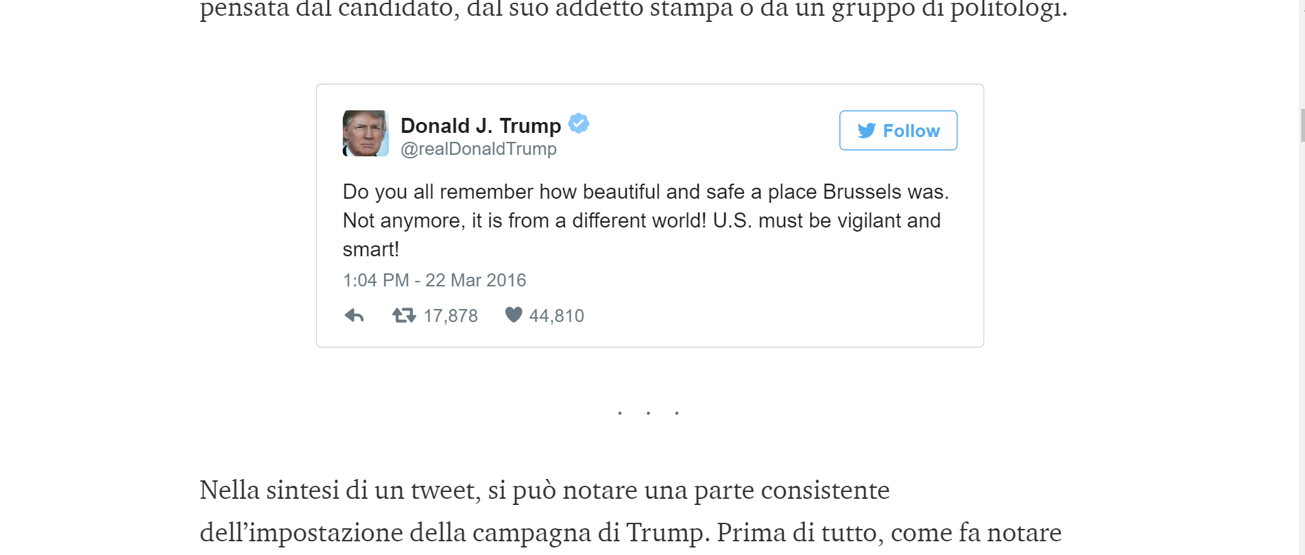 Il tweet di Trump su Bruxelles — In italiano — Medium